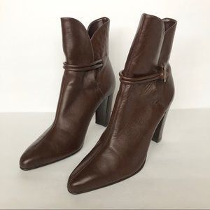 Colin Stuart Brown Leather Side Split Ankle Boots